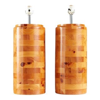 Turned Pine Wood Column Lamps, a Pair For Sale