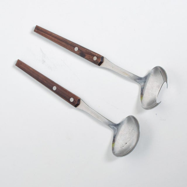 Mid-Century Modern Mid-Century Modern Sculptural Salad Servers in Stainless Steel & Rosewood - Set of 2 For Sale - Image 3 of 9