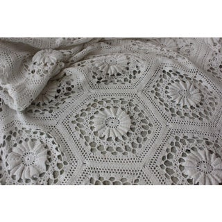 Knit Coverlet Vintage French Hand-Made Cotton Bed Cover Off-White 89x87 Inches For Sale