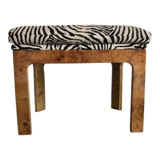 Midcentury Burl Wood Zebra Stool For Sale