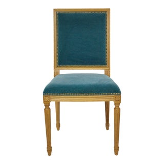 French Traditional Louis XVI Style Square Back Dining Chair For Sale