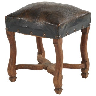 Late 19th Century French Dark Brown Leather Upholstered Wood Stool For Sale