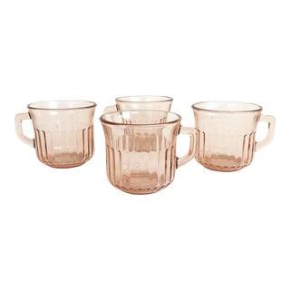 Vintage Blush Pink Glass Mugs - Set of 4 For Sale