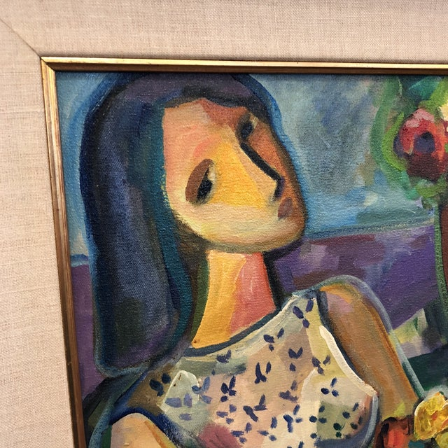 """Original Painting """"Girl With Flowers"""" Acrylic on Canvas by Ney Cardosa For Sale - Image 5 of 10"""
