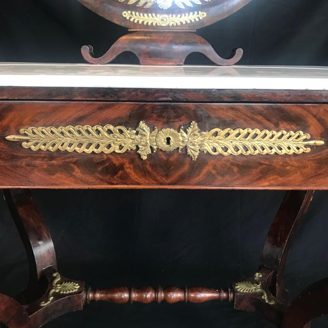 Metal 19th Century French Empire Neoclassical Mahogany Dressing Table Vanity For Sale - Image 7 of 13