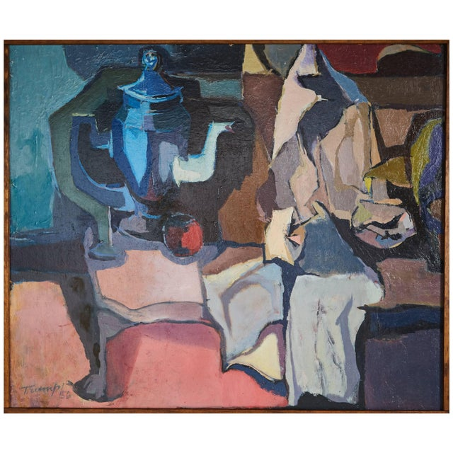 Oil Paint 1956 Mid-Century Modern Abstract Oil Painting Signed Trump For Sale - Image 7 of 7