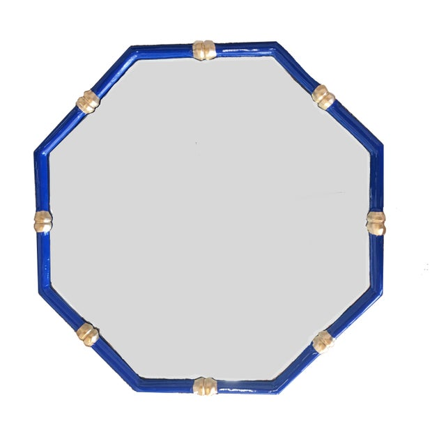 Chinoiserie Dana Gibson Bamboo Mirror in Navy, Octo Style For Sale - Image 3 of 3