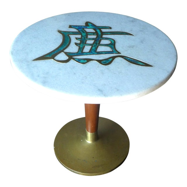 Rare Mid-Century Pepe Mendoza Marble Top Side Table For Sale