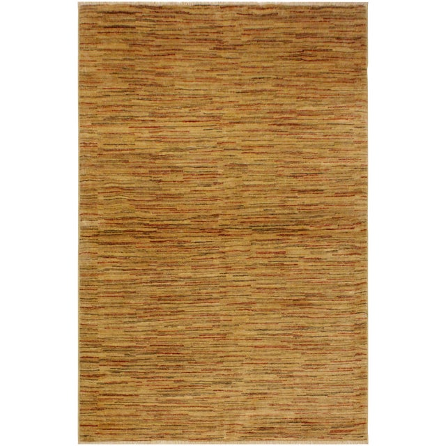 Gabbeh Jacqueline Tan/Rust Wool Area Rug -4'3 X 5'9 For Sale