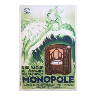 1934 French Art Deco Poster, Radio Monopole For Sale