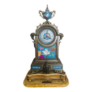 French Gilt Bronze and Glazed Earthenware Clock For Sale