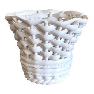 White Italian Pottery Basketweave Planter For Sale