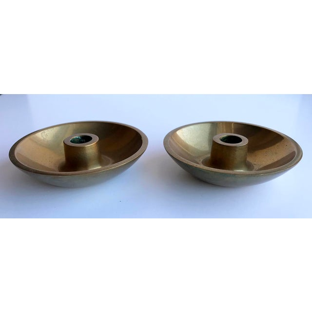 Danish Modern Brass Candle Holders - A Pair For Sale - Image 4 of 4