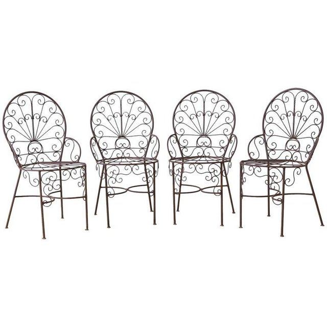 Salterini Style Iron Fan Back Garden Patio Chairs For Sale - Image 13 of 13