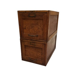 Vintage Wood Stacking File Drawers Cabinet - a Pair For Sale