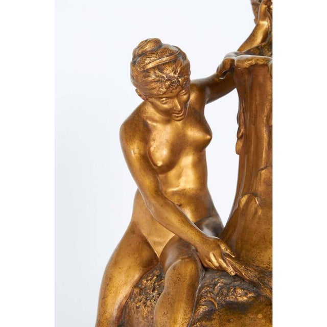 Alexandre Vibert, French Art Nouveau Figural Gilt Bronze Ewer, Circa 1900 For Sale - Image 4 of 9