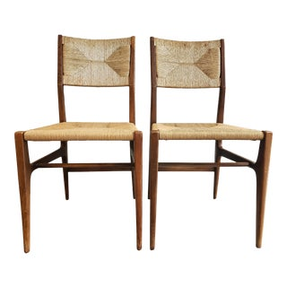Pair of 1960's Retro Woven Dining Chairs For Sale