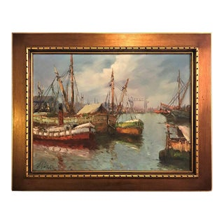 Oil on Canvas Painting of Boats Signed a Valnez Fishing Boats at the Dock For Sale