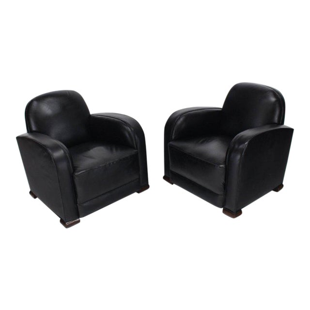 Deco Style Black Leather Thick Arm Rests Lounge Tank Chairs - a Pair For Sale - Image 10 of 10