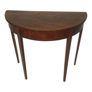 19th Century Traditional Demi Lune Inlaid Mahogany Table For Sale