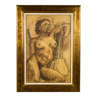 Late 19th Century Antique Deyrolle Reclined Nude Woman Pastel on Paper Drawing For Sale