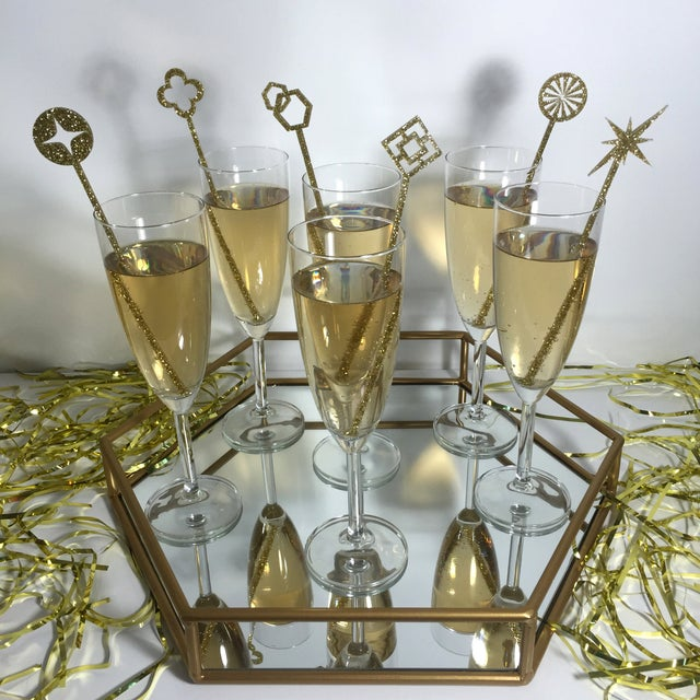 Geometric Gold Glitter Drink Stirrers - Set of 6 - Image 3 of 4