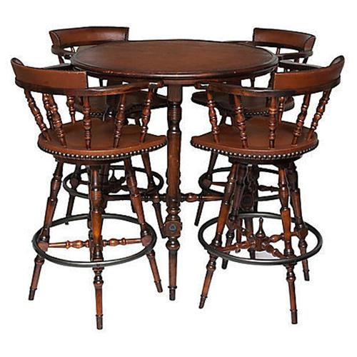 Spanish Colonial Style Game Table & Chairs Set - Set of 5 - Image 10 of 11