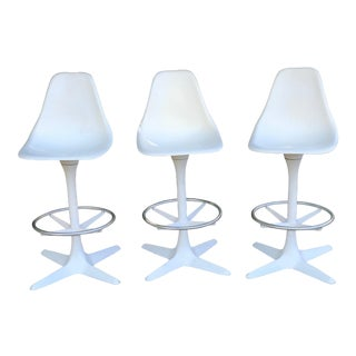 1960s Mid-Century Modern White Propeller Base Burke Stools - Set of 3 For Sale