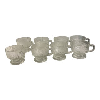 Vintage Icicle Glazed Glassware Mugs - Set of 8 For Sale