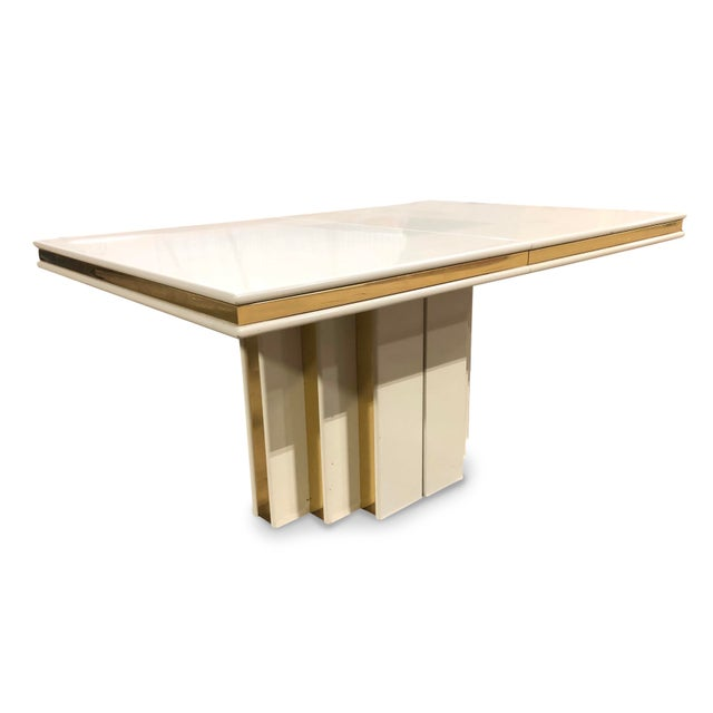 1970s Contemporary Roger Rougier Brass and Lacquered Dining Table For Sale In Chicago - Image 6 of 8