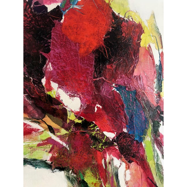 Large Vintage Abstract Paint and Paper Mache on Canvas by Nettie Hardman For Sale - Image 4 of 12