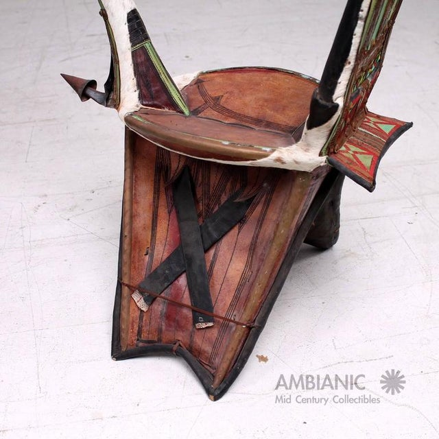 Animal Skin Goatskin & Leather Tribal Chair For Sale - Image 7 of 9