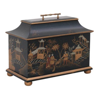 Chinoiserie Hand-Painted Box With Faux Bamboo Handle For Sale