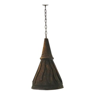 Patina Tin Industrial Cone Light Fixture For Sale