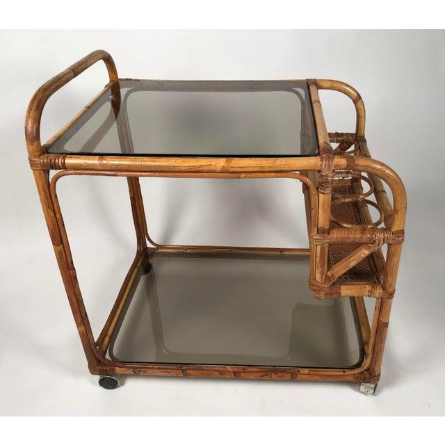 Brown Rattan and Smoked Glass Bar Cart For Sale - Image 8 of 8