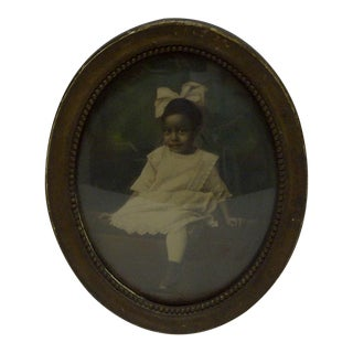 "Vintage Bubble Glass Framed Black & White Photograph ""Young Black Girl"", 1920 For Sale"