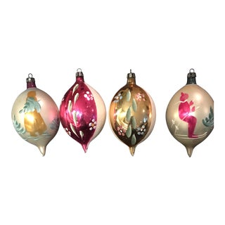 50's Vintage Christmas Ornaments - Set of 4 For Sale