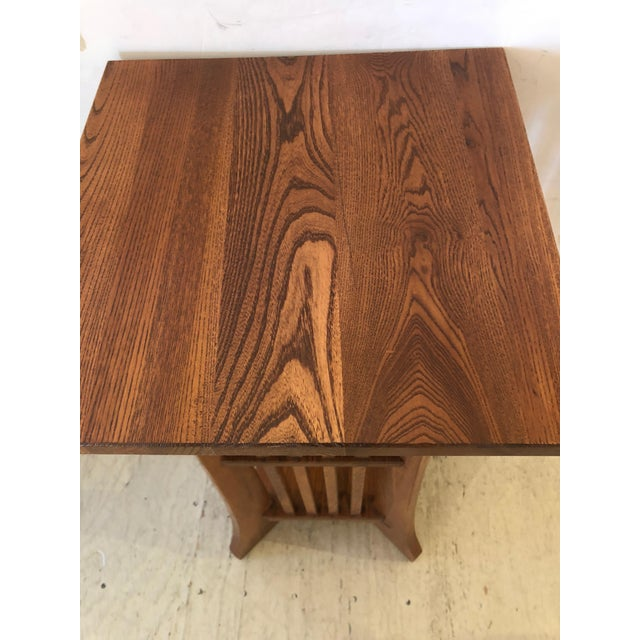 Oak 1950s Arts & Crafts Mission Style Side Table For Sale - Image 7 of 9