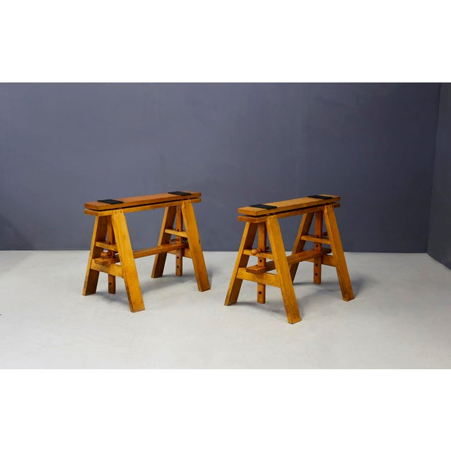 Brown Pair of MidCentury Easels for Leonardo Table by Achille Castiglioni for Zanotta For Sale - Image 8 of 8