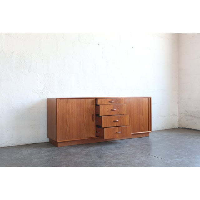 Dyrlund 1950s Mid-Century Modern Dyrlund Credenza With Tambour Doors For Sale - Image 4 of 8