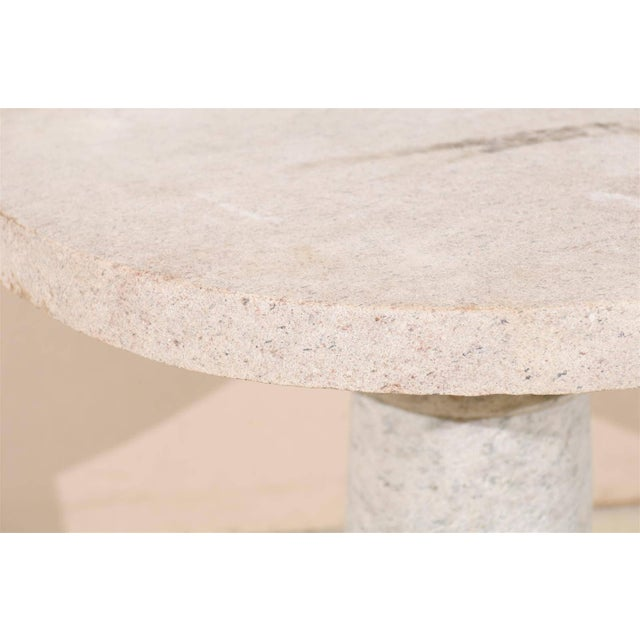 Granite Round Granite Contemporary Indoor/Outdoor Pedestal Table, Handmade For Sale - Image 7 of 8