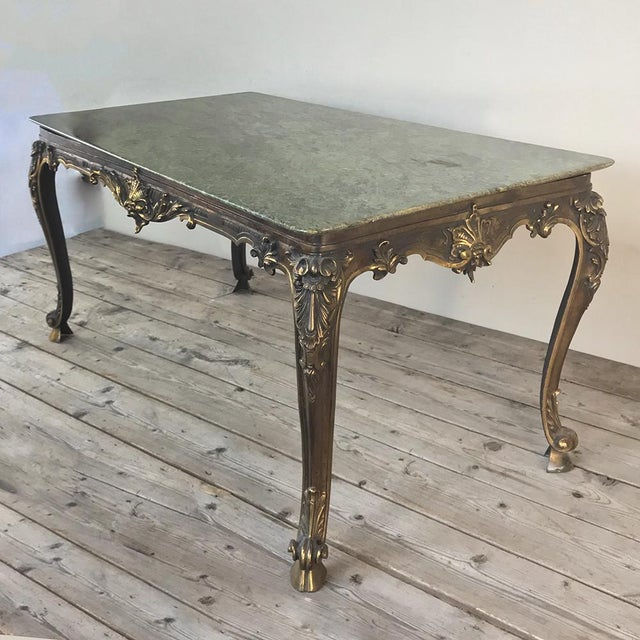 Mid-Century Italian Louis XIV Brass & Marble Coffee Table For Sale - Image 4 of 12
