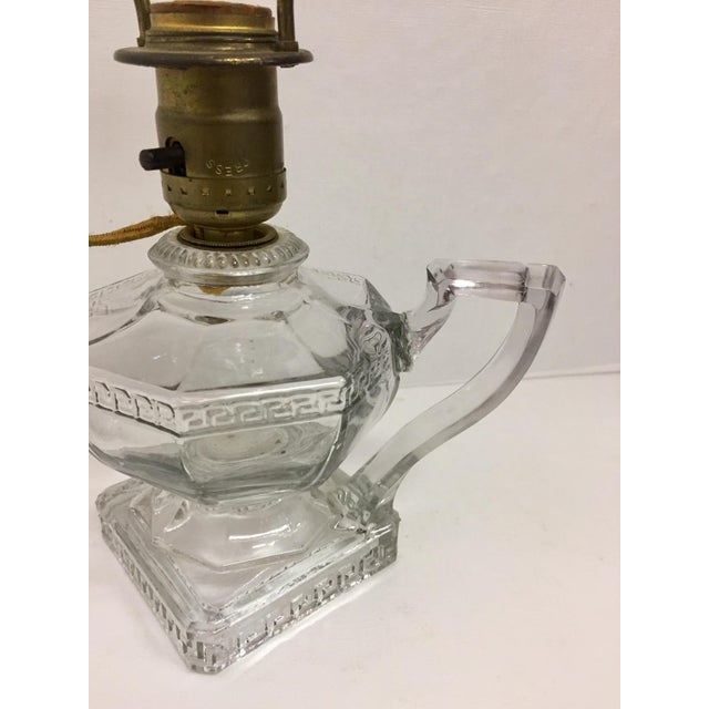 1960s Greek Key Pressed Glass Electrified Oil Lamp For Sale - Image 5 of 9