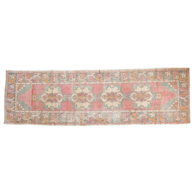 "Vintage Distressed Oushak Rug Runner - 3' X 9'8"" For Sale - Image 12 of 12"