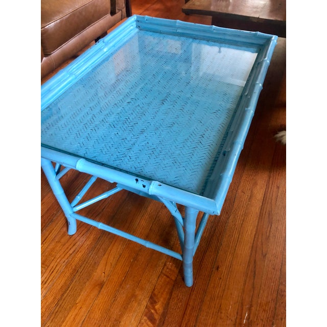 Early 20th Century Turquoise Blue Bamboo Rattan Table For Sale - Image 5 of 10
