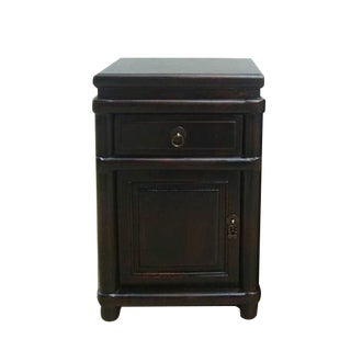 Round Cornered Black Lacquer Night Stands