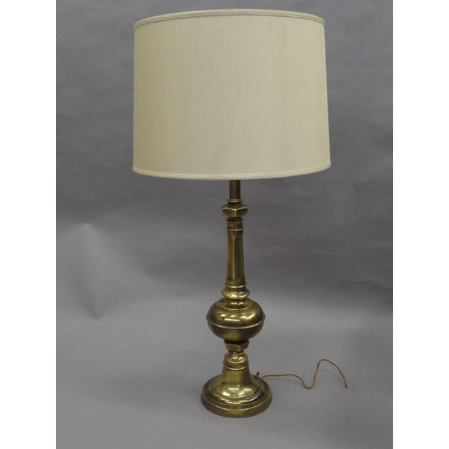 Pair of British Mid-Century Brass Baluster Table Lamps For Sale - Image 9 of 9