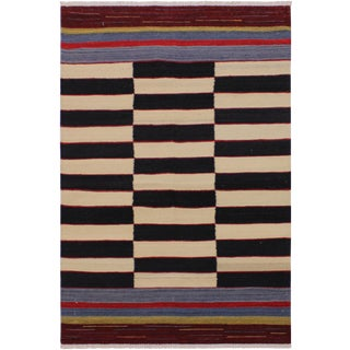 Contemporary Kilim Shields Hand-Woven Wool Rug -2′7″ × 4′2″ For Sale