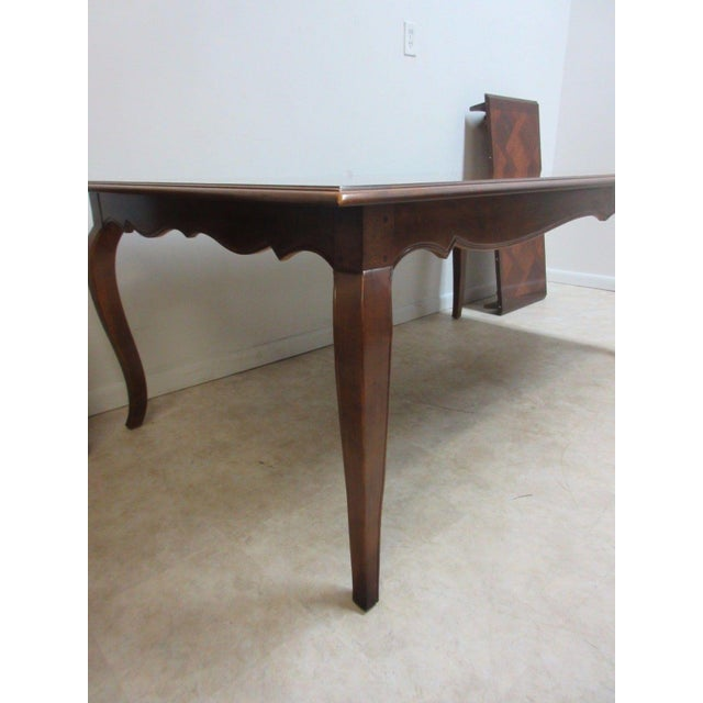 Wood Henredon Country French Parquet Top Carved Banquet Conference / Dining Table For Sale - Image 7 of 11