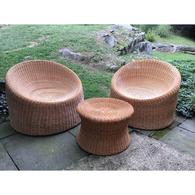 Mid Century Eero Aarnio Wicker Elephant Boot Chairs and Foot Stool - Set of 3 For Sale - Image 13 of 13